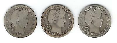 1911-P-D-S_Liberty Head Barber Quarters_Good Rare Coins