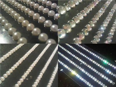 Self Adhesive DIAMANTE Stick on STRIPS Gems Card Craft Making Diamonds