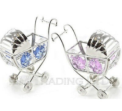 Crystal Blue New Born Baby Boy Pram Silver Plated Ornament Christening Gift Box