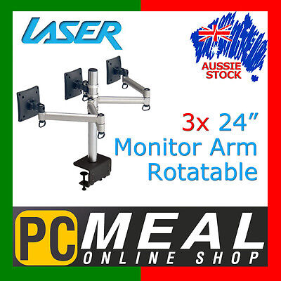 """LASER 3x Monitor Arm Multiple Screen Rotatable 24"""" TV Mounts Bracket LCD Stand"""
