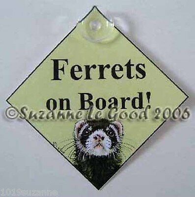 Ferret sign Ferrets on board car sign from original painting by Suzanne Le Good