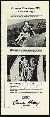1945 Cannon Hosiery Women's Nylons Stockings United Airlines Stewardess Bette Ad