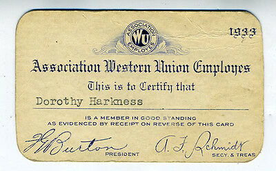 1933 Association of Western Union Employees Card for Dorothy Harkness
