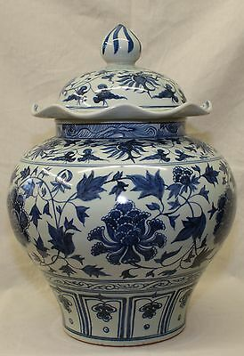 Blue and white jar with cover, Yuan thru Ming Period