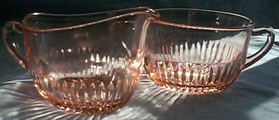 Hocking Glass Co. Old Colony Lace Edge Pink Oval-Shaped Creamer & Sugar Bowl Set