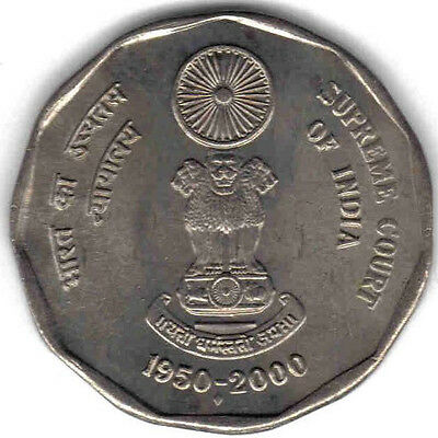 India: Uncirculated 2000 50 Years Supreme Court Commemorative 2 Rupees, Km #291
