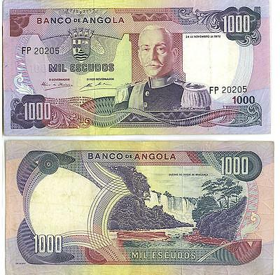 Angola: Vintage Circulated Banknote Pair, 1000 Escudos & Kwanzas