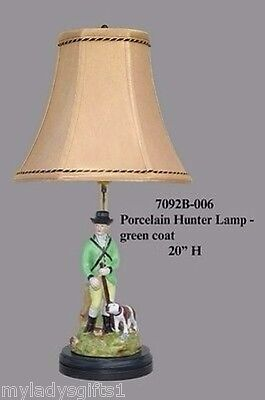 New Beautiful Porcelain Green Hunter Hunt Lamp with Dog  20 Inches