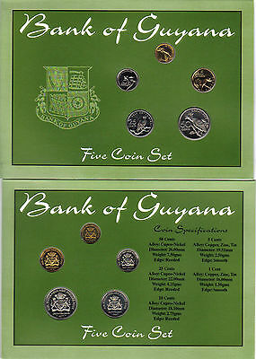 GUYANA: 5 PC 1970s GOV'T PACK COIN SET; 1 TO 50 CENTS