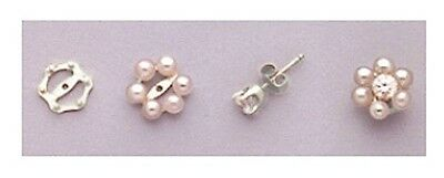 Two Solid 925 Sterling Silver Six Pearl Earring Jackets (Pearls NOT Included)