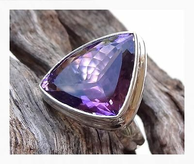 925 Sterling Silver PURPLE AMETHYST Semi Precious GEMSTONE RING SIZE P -US 7 3/4