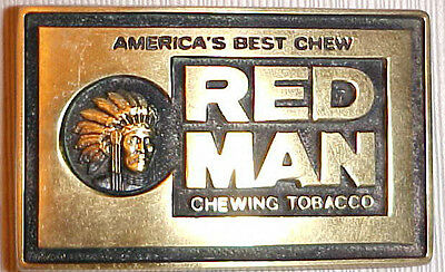 RED MAN CHEWING TOBACCO*1970's Heavy SOLID BRASS**BELT BUCKLE<BTS Buckle>