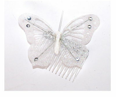 Fab Large White Glitter Gossimer Butterfly Fascinator, Hair Decoration
