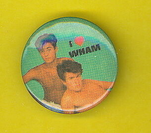 Wham 1985 uk pinback button badge ww VV GEORGE & ANDREW TOPLESS