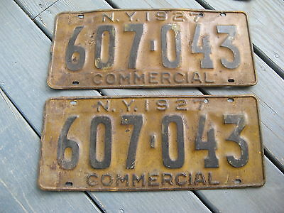 1927 27 New York Ny License Plate Pair Nice Set Yom Pr Commercial Com Truck