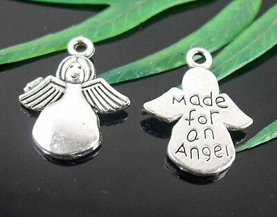 "Free Ship 50Pcs Tibetan Silver "" Made for an angel "" Charms 19x13mm"