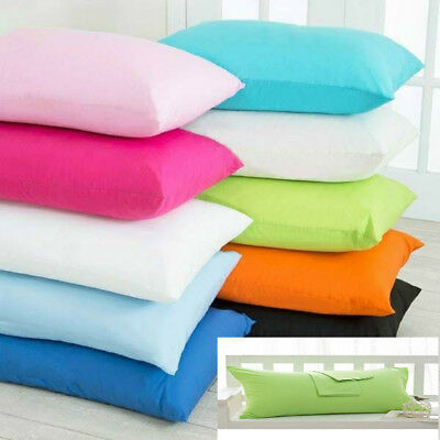 Luxury Plain Dyed 68 Pick PolyCotton Housewife Pillow Case Cases Pair Pack