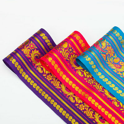 Silver Gold Metallic 7cms Neotrims Bollywood Costume Paisley Ribbon Trimming