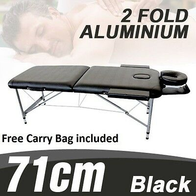 NEW 71cm ALUMINIUM PORTABLE MASSAGE BED TABLE CHAIR 2 FOLD BEAUTY THERAPY WAXING