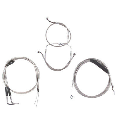 "Stainless +6"" Cable & Brake Line Bsc Kit 1996-2006 Harley Touring w/Cruise"