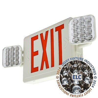Red ALL LED Exit Sign & Emergency Light Remote Capable Combo - COMBORRH2