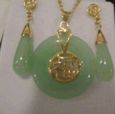 Beautiful Natural Jade Pendant and pair of Earrings Set