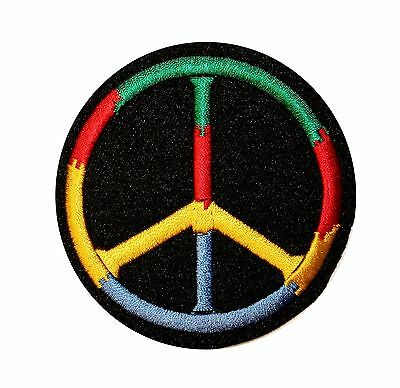 Peace Sign Hippie Multi Color Embroidered Iron On Applique Patch