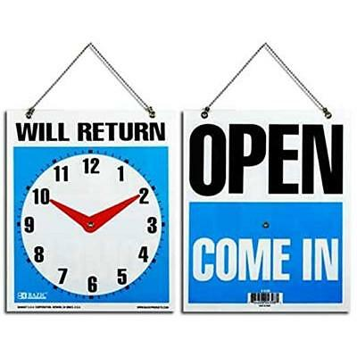 "2 OPEN COME IN Back WILL RETURN Movable CLOCK  W/ Hanging Chain 7.5""x 9"" Sign"