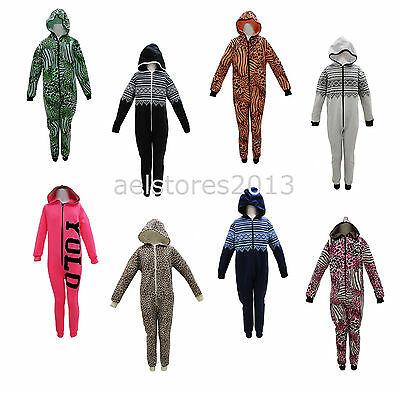 Jumpsuit Sleepsuit Pyjamas All In One One piece Hooded Girls Boys Kids Age 7-13