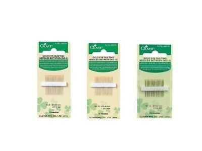Clover Gold Eye Quilting Needles Between Package of 15 SELECT YOUR SIZE!