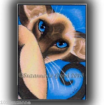 Aceo Ltd Ed Vincent Siamese Cat Painting Print From Original By Suzanne Le Good