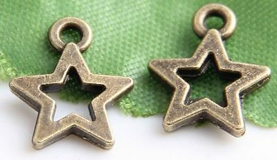 Free Ship 210Pcs Bronze Plated Star Charms Pendant 13x11mm