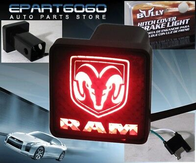 """BULLY REAR 2"""" TRAILER TOWING HITCH RECEIVER COVER LOGO BRAKE LIGHT FOR """"DODGE"""""""