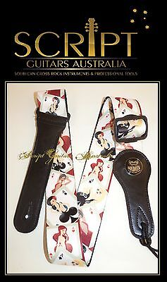 """Ace of Babes""  Acoustic, Electric, Bass Guitar strap + 1 x Leather Pick Holder"