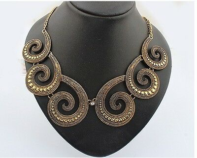 Occident Fashion Retro Bronze Metal Splicing Octopus Tentacles Chunky Necklace