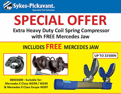 Sykes Pickavant Extra Heavy Duty Coil Spring Compressor 08400000 + Mercedes Jaw