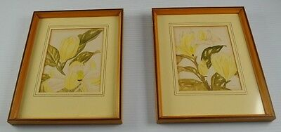 Lot Of 2 Vintage Paul Tyler Signed Framed Print Botanical Collectible Deco