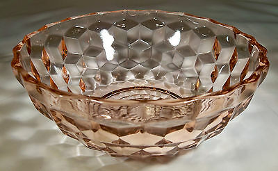 "JEANNETTE GLASS CO. CUBIST or CUBE PINK 6-1/2"" DIAMETER SALAD BOWL!"