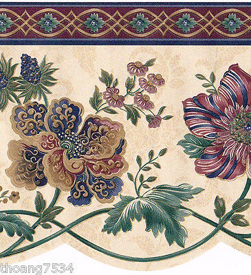 Victorian Burgundy Blue Paisley Jacobean Floral Floral on Cream Wallpaper Border