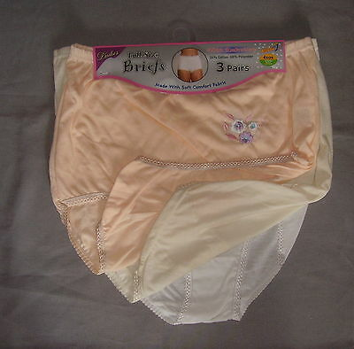 ladies 3 pkt full briefs pants knickers pastel larger sizes 3XOS to 6XOS