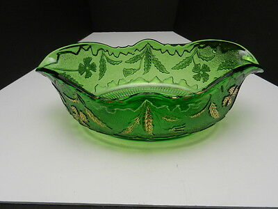 "US Glass Delaware Console Bowl Green w Gold Trim 11 1/4"" L ca1900"