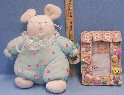 Russ Plush Baby Bunny & Nursery Baby Picture Frame Pink Girl Photo Lot of 2