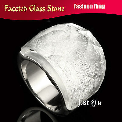 Huge Sparkling Silver Color Faceted Glass Stone Stainless Steel Fashion Ring