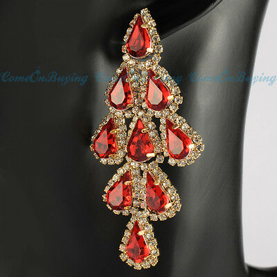 Fashion Golden Drop Red Glass Bead White Crystals Dangle Cluster Noble Earrings