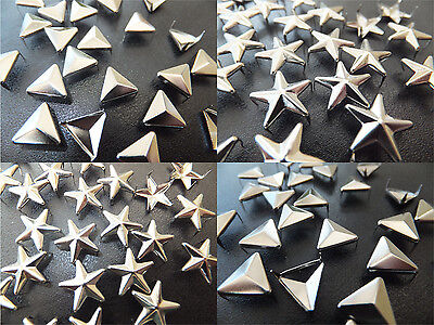 Star or Triangle Silver Stud packs of 10,20,30,50 or 100 - goth punk emo craft
