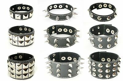 Lot of 1 Black Leather Gothic Punk Stud Spike Bracelets Wristbands Cuffs for Men