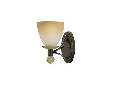 Deluxe Stone-Washed Amber Glass Bronze Wall Light (Reg Price over $75) RARE
