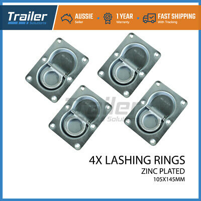 4 X Lashing Ring Zinc Plated Tie Down Points Anchor Ute Trailer 105 X 145Mm