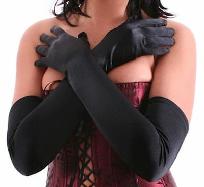 Stretch Satin Opera Full Length Gloves Black 56cm Long Audrey Hepburn Burlesque
