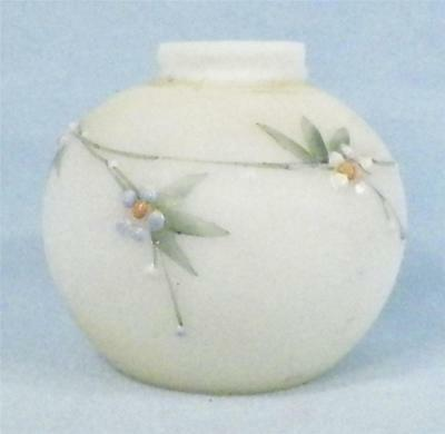 Antique Flowers Satin Glass Salt Shaker Small Lobe Mt Washington No Lid RARE